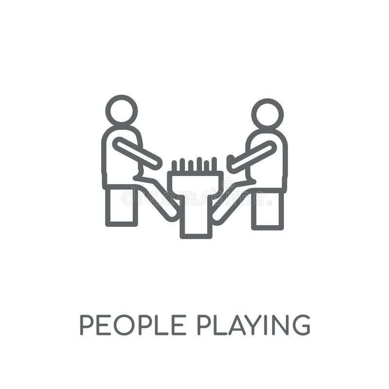 People playing Board games icon linear icon. Modern outline Peop. Le playing Board games logo concept on white background from Recreational games collection royalty free illustration