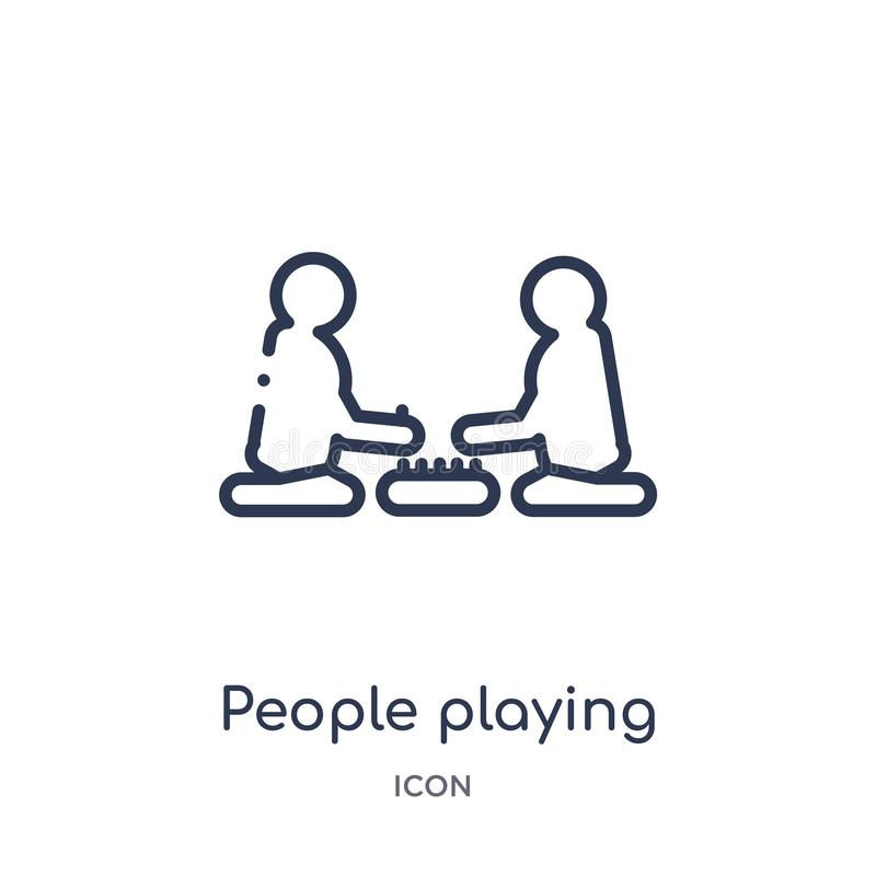 people playing board games icon from recreational games outline collection. Thin line people playing board games icon isolated on vector illustration