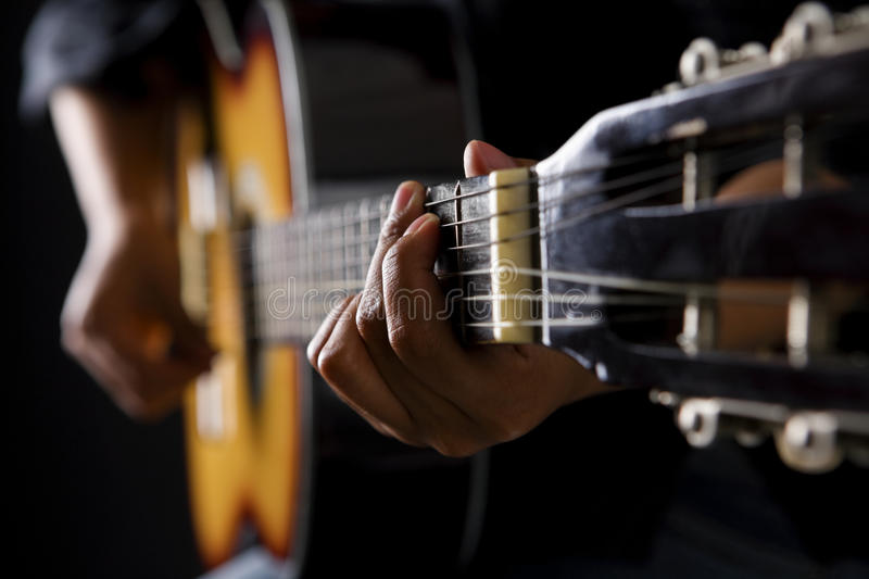 People playing classic guitar stock image