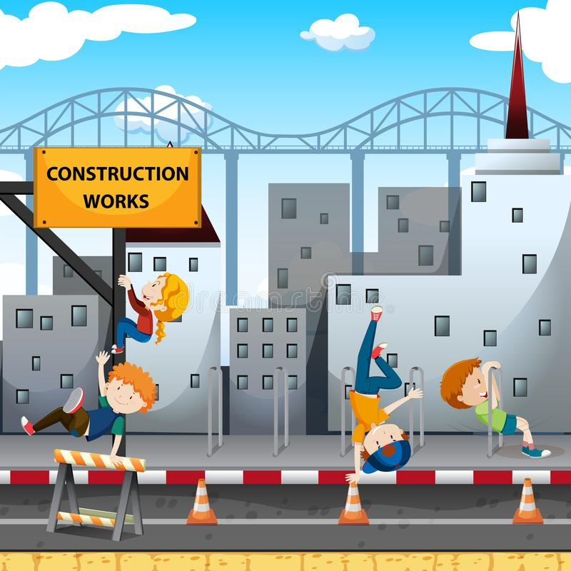 People playing at the construction works stock illustration