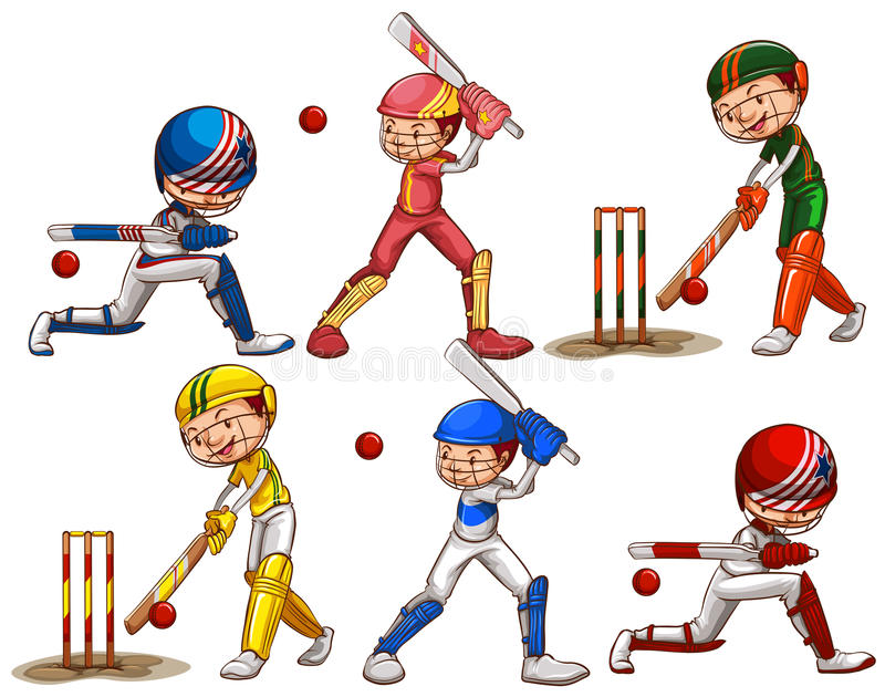 People playing cricket stock illustration