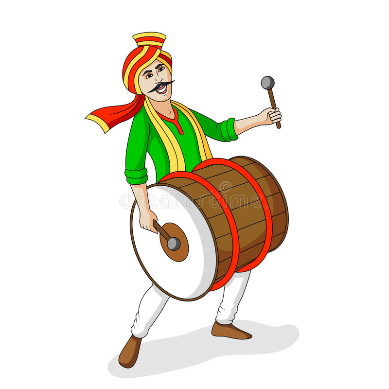 People playing dhol tasha in Indian festiva stock illustration