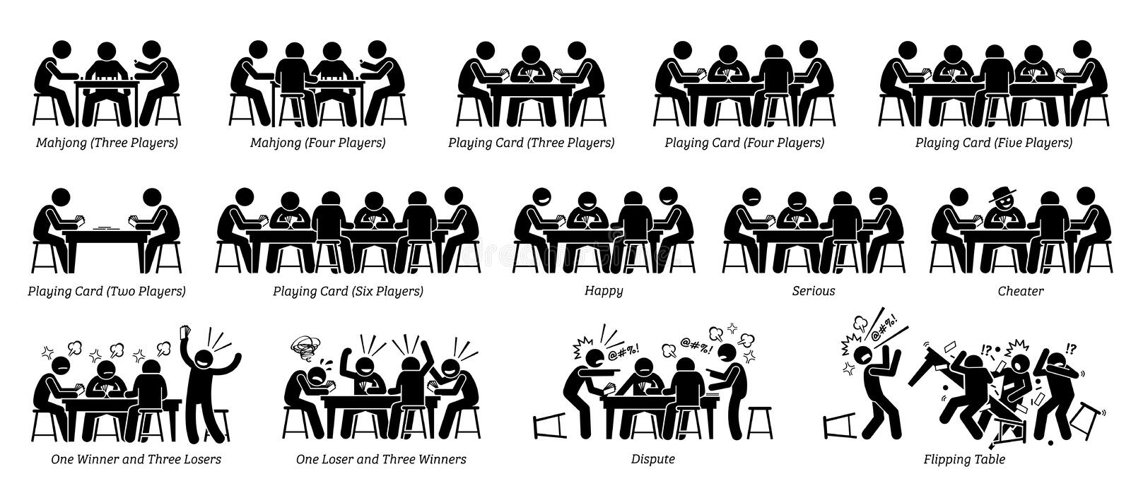 People playing game card, poker card, and mahjong on the table. vector illustration