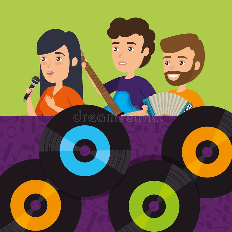 People playing instruments with vinyl disks. Vector illustration design vector illustration