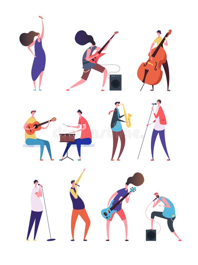 Free People Playing Music. Musicians Performing Rock Music Singers With Microphone Guitarist And Drummer. Music Band Flat Stock Photo - 137819830