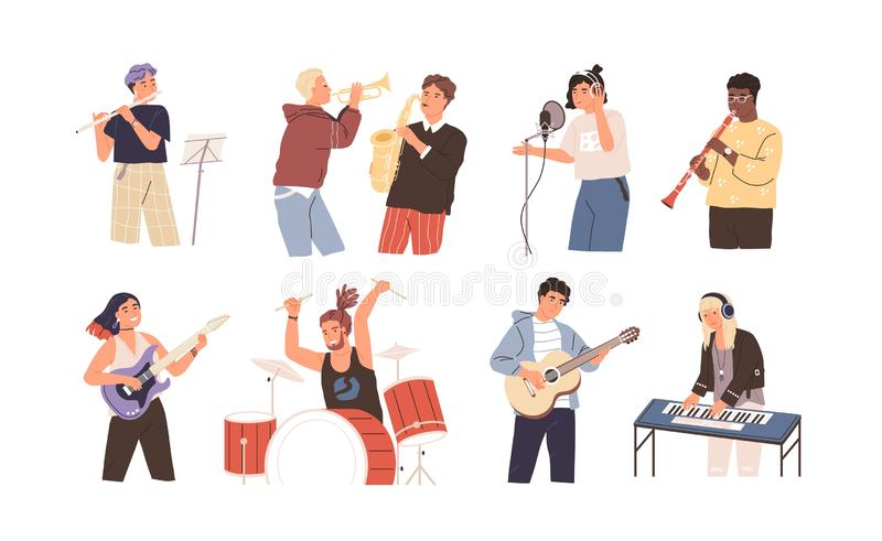 People playing musical instruments vector illustrations set. Young singer recording song with professional equipment royalty free illustration