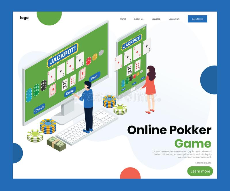 People playing Online Poker Game Isometric Artwork Concept vector illustration