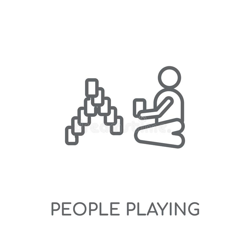 People playing Rummy icon linear icon. Modern outline People pla. Ying Rummy logo concept on white background from Recreational games collection royalty free illustration