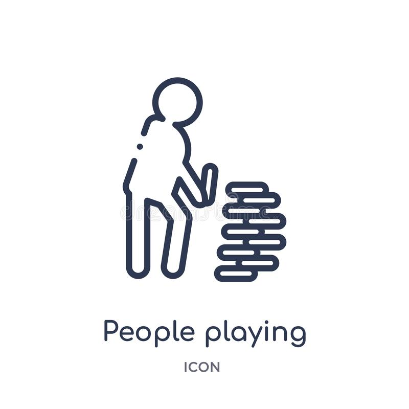 People playing rummy icon from recreational games outline collection. Thin line people playing rummy icon isolated on white. Background royalty free illustration
