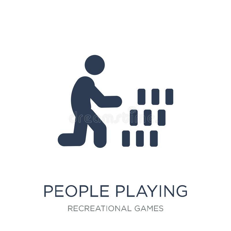 People playing Rummy icon icon. Trendy flat vector People playing Rummy icon on white background from Recreational games. Collection, vector illustration can be vector illustration