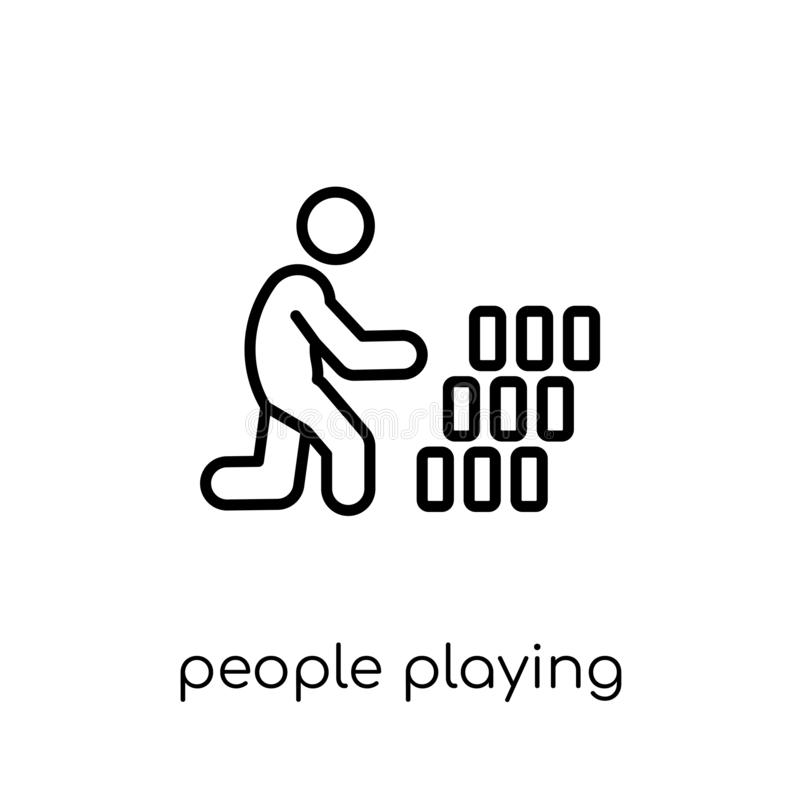 People playing Rummy icon icon. Trendy modern flat linear vector. People playing rummy icon. Trendy modern flat linear vector people playing rummy icon on white royalty free illustration