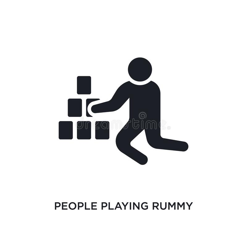 People playing rummy isolated icon. simple element illustration from recreational games concept icons. people playing rummy. Editable logo sign symbol design on royalty free illustration