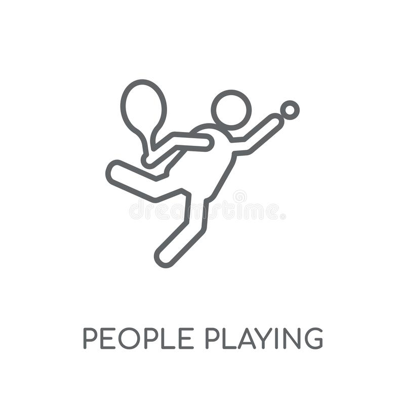 People playing Tennis icon linear icon. Modern outline People pl stock illustration