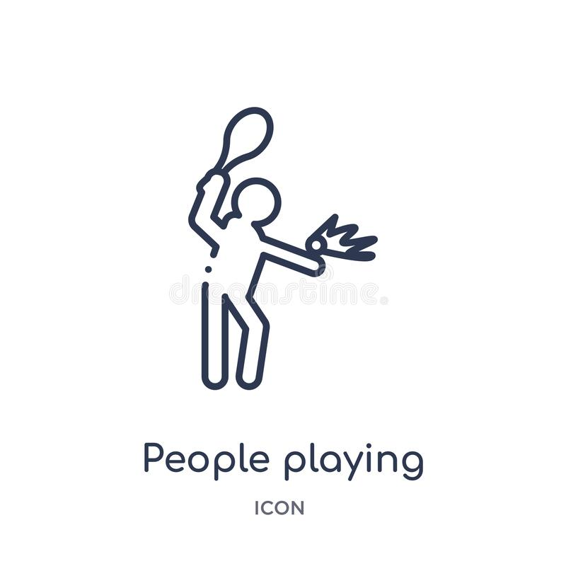 people playing tennis icon from recreational games outline collection. Thin line people playing tennis icon isolated on white vector illustration