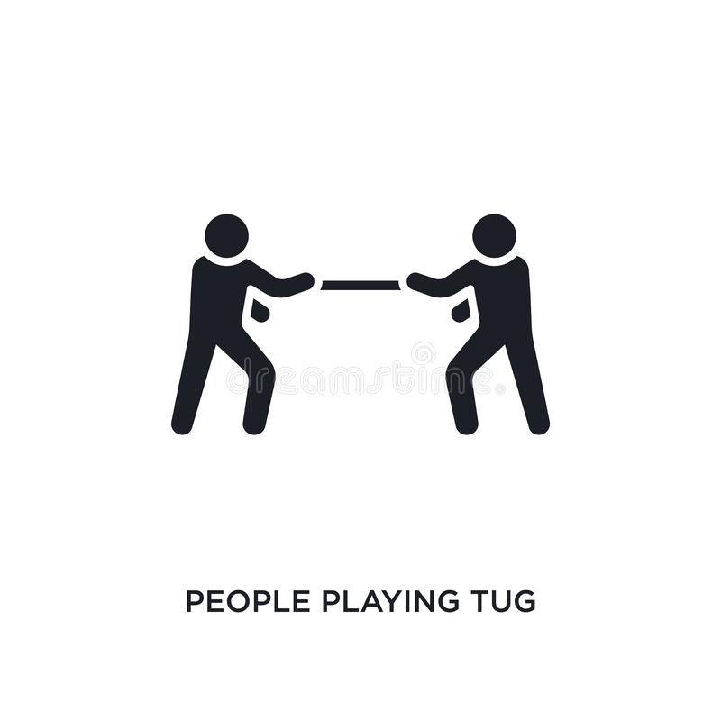 people playing tug of war isolated icon. simple element illustration from recreational games concept icons. people playing tug of stock illustration