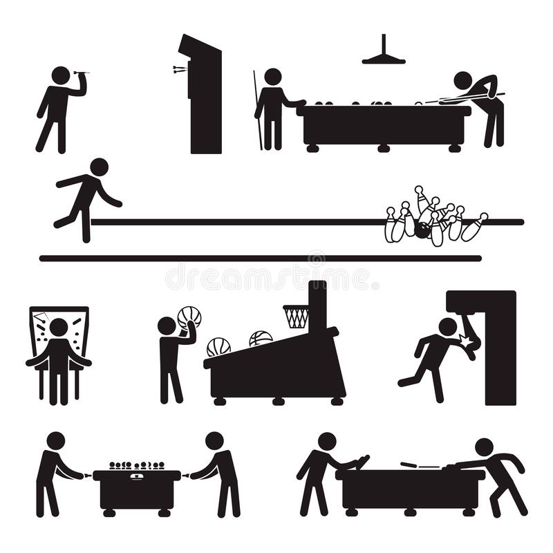 People playing various games including darts, billiard, bowling and others. Vector. eps10 royalty free illustration