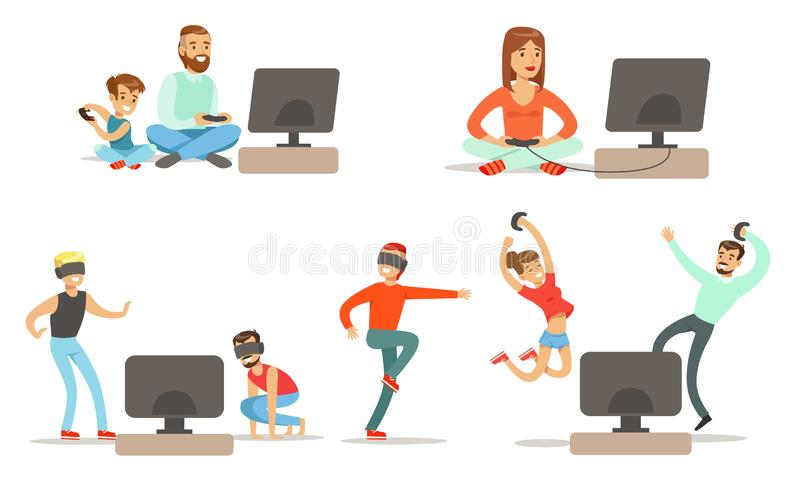 People Playing Video Games , Set, Men, Happy Women and Kids Characters with Vr Glasses and Digital Gadget Devices. Relaxing at Home Vector Illustration on White stock illustration