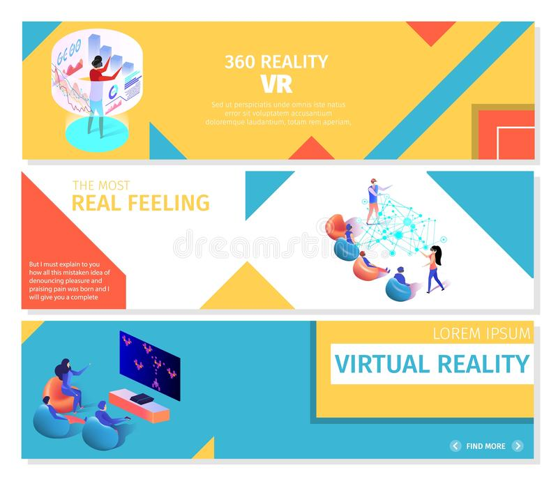 People Playing 360 Virtual Games Banners Set vector illustration