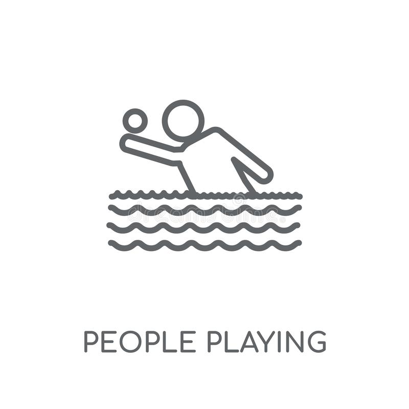 People playing Waterpolo icon linear icon. Modern outline People royalty free illustration