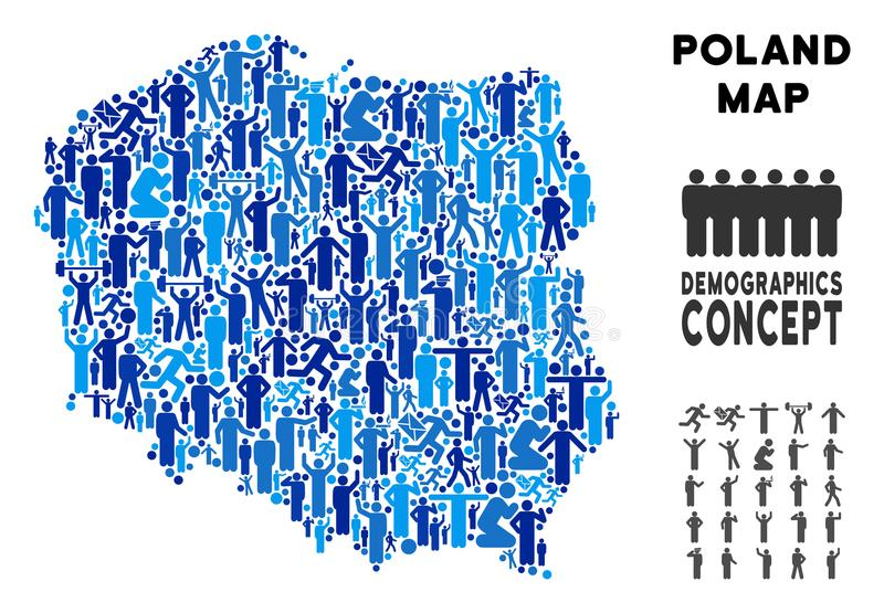 People Poland Map. Vector population Poland map. Demography collage of Poland map done of persons with different poses. Demographic map in blue tinges. Abstract stock illustration