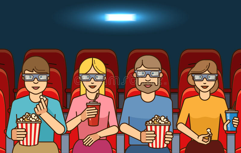 People with popcorn watching movie in cinema. 3D films concept. Outline flat vector illustration stock illustration