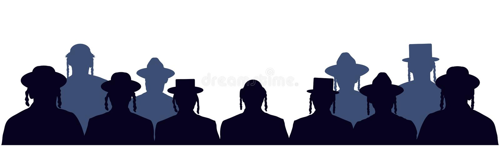 People portrait Israelite. Jewish head profile avatar icons. Crowd of people of Jewish nationality. Audience public auditory. Silhouette vector set royalty free illustration