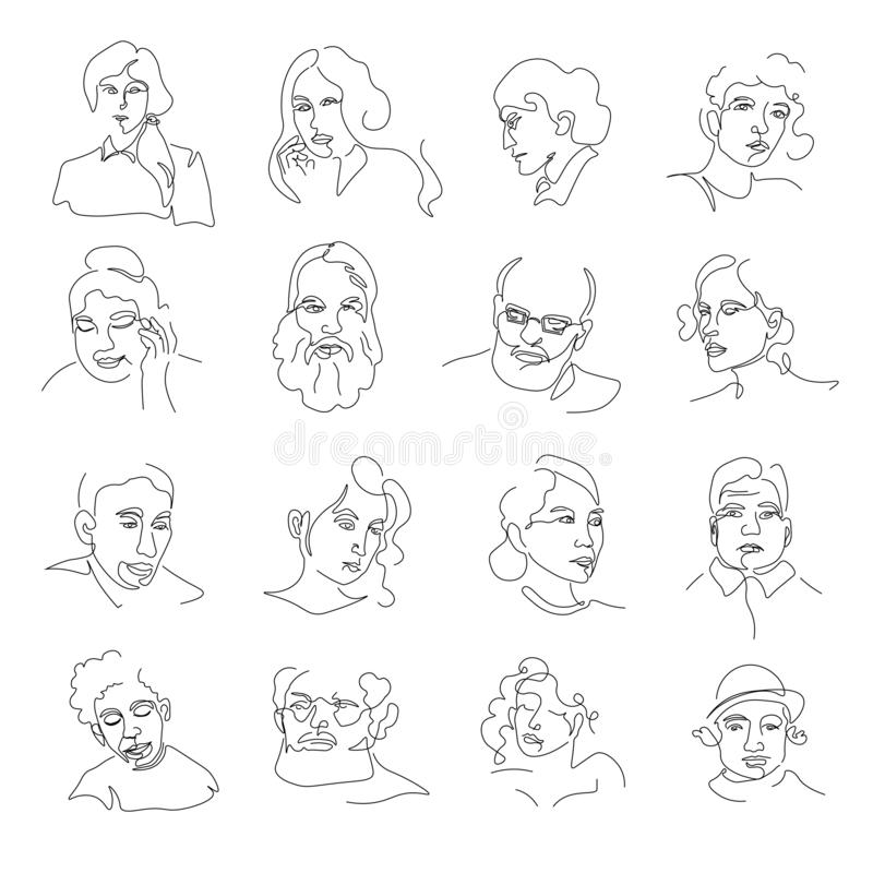 People portraits or sketch avatars, men and women faces. Men and women faces, people portraits or sketch avatars vector. One line drawing or lineart, girl or stock illustration