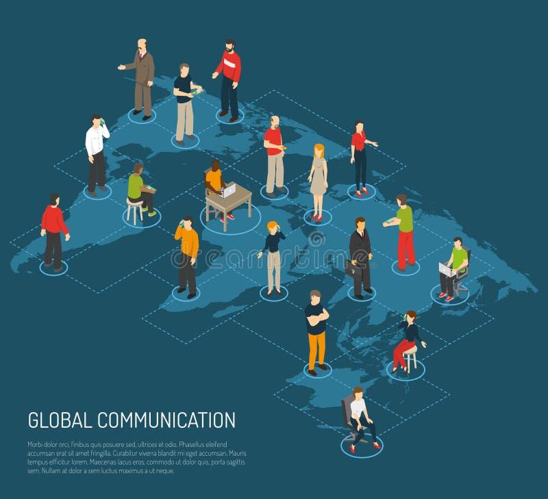 People Poster Of Global Communication. Isometric poster of people connected to global communication on world map dark blue background vector illustration royalty free illustration