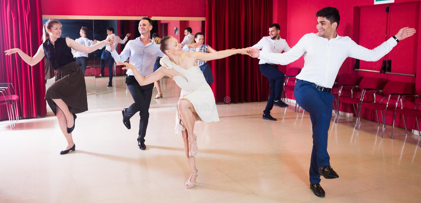 People practicing lindy hop movements stock image