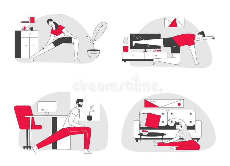 People Practicing Stretching at Home Set. Fitted Men and Women Doing Gymnastics Exercises for Healthy Body stock illustration