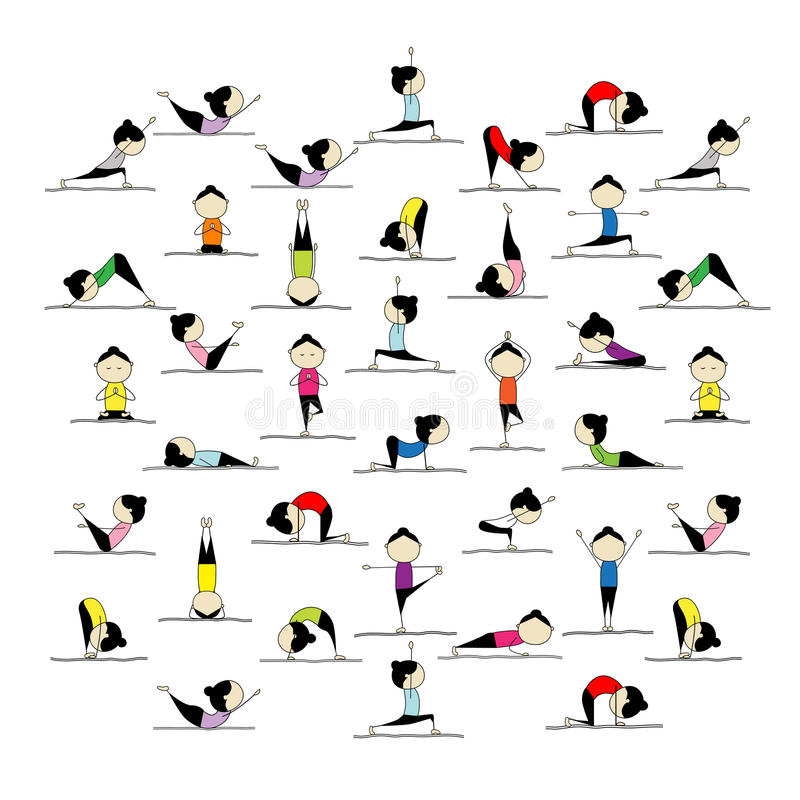 Free People Practicing Yoga, 25 Poses For Your Design Stock Photo - 22098090