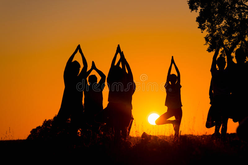 People practicing yoga. Silhouette of several people practicing yoga in the field royalty free stock images