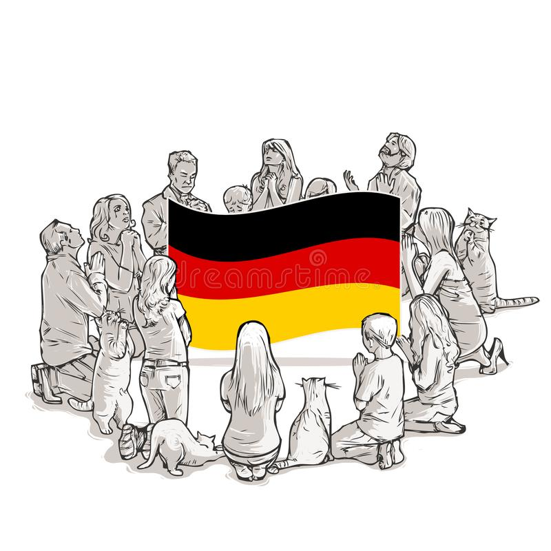People pray for Germany stock illustration