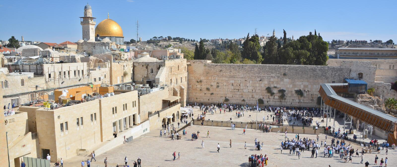 People pray. JERUSALEM ISRAEL 26 10 16: People pray a the Western Wall, Wailing Wall or Kotel the Place of Weeping is an ancient limestone wall in the Old City stock photo