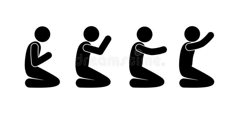 People pray, stick figure man kneeling, prayer illustration 库存例证
