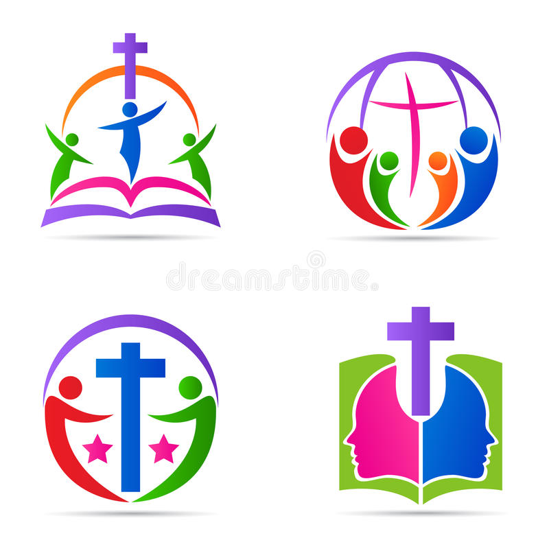 People cross logo bible family church religion symbol vector icon design. stock illustration