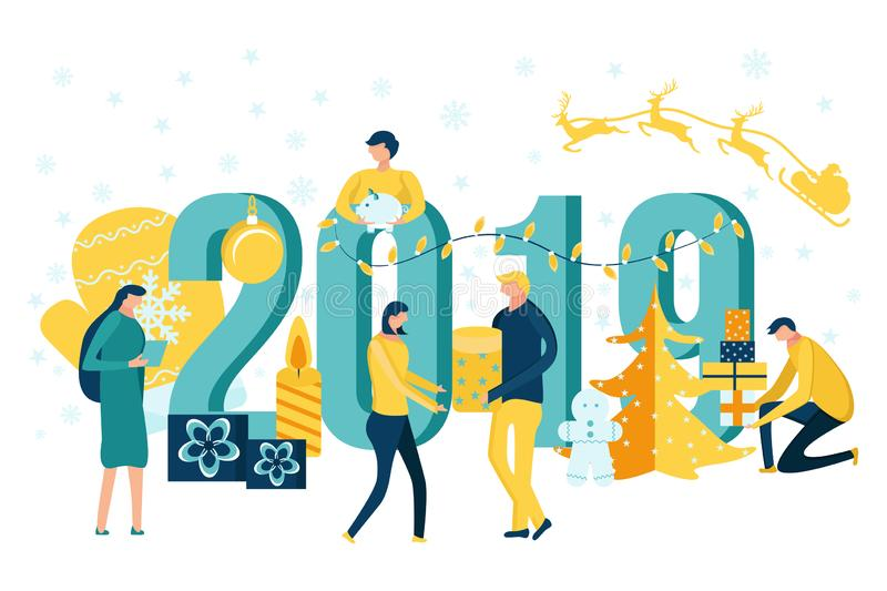 People preparing for and celebrating Happy New Year vector illustration