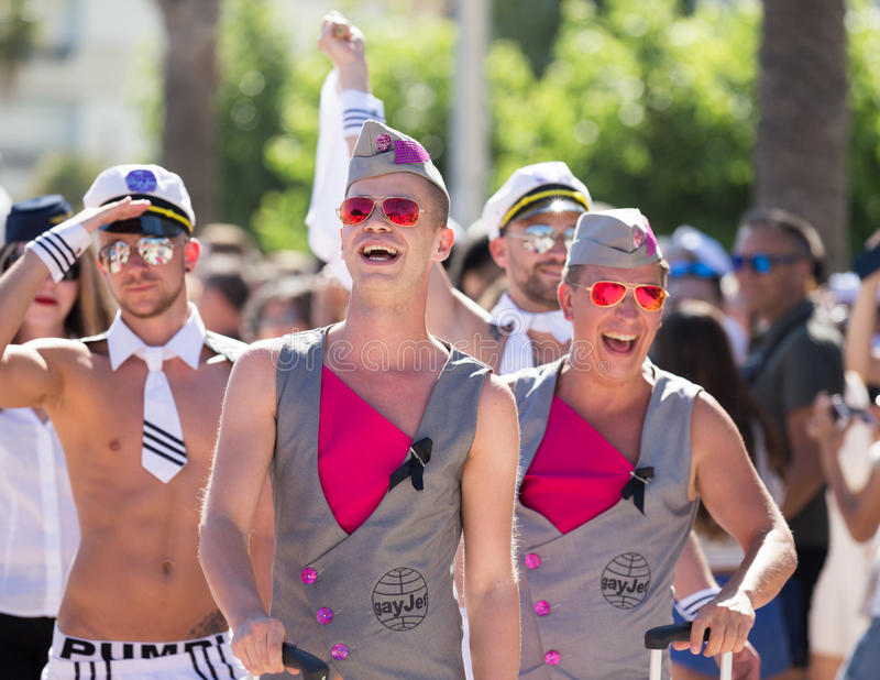 People on pride parade, sitges, spain royalty free stock photography