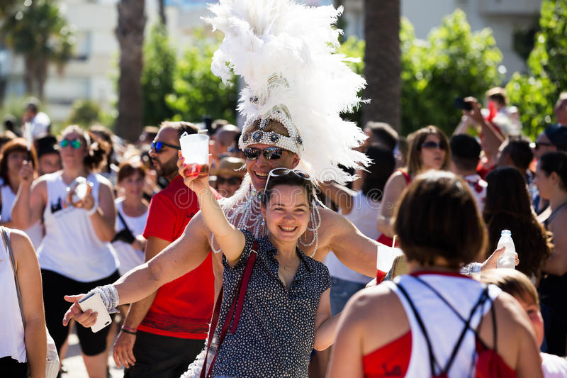 People on pride parade, sitges, spain stock photo
