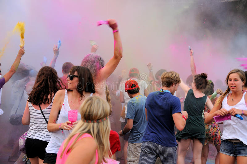 People at the Pringles Holi Colour Party at FIB (Festival Internacional de Benicassim) 2013 Festival royalty free stock photography
