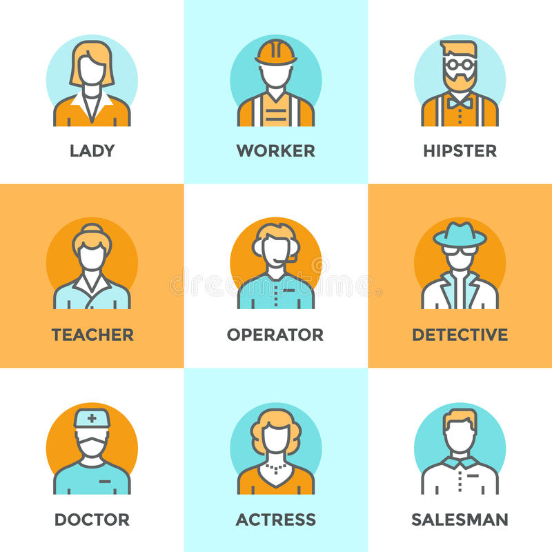 People profession line icons set royalty free illustration