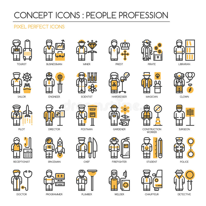 People Profession , Pixel Perfect Icons. People Profession , thin line icons set , Pixel Perfect Icons royalty free illustration