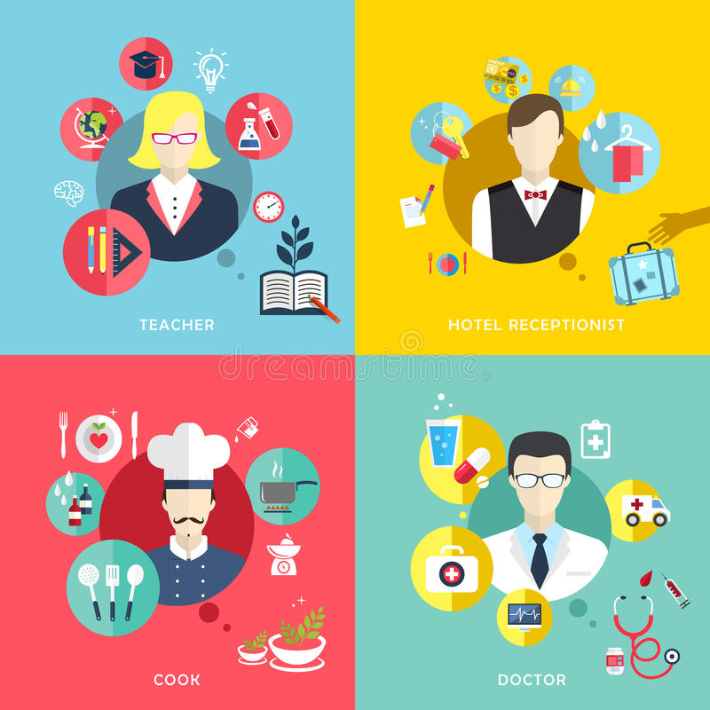 People professions concept icons set in flat design stock illustration
