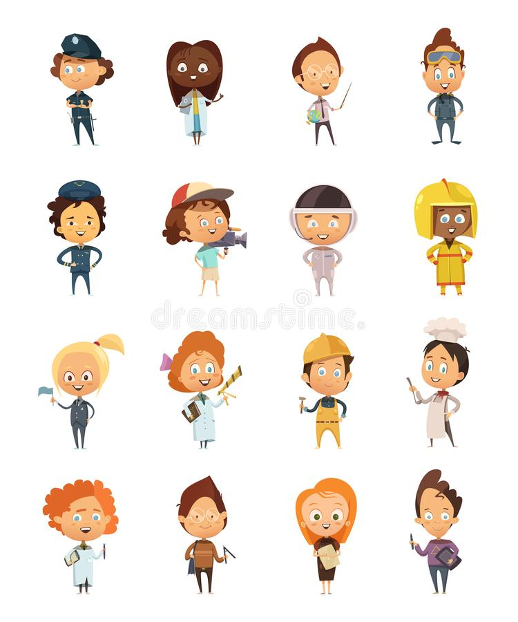 People Professions Cute Cartoon Icons royalty free illustration
