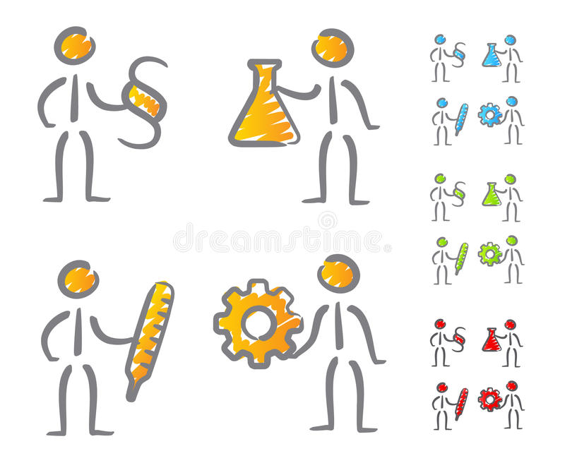 People professions icons scribble vector illustration