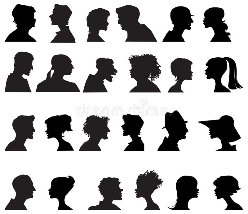Download People profiles stock image. Image of profile, girl, silhouettes - 25718917