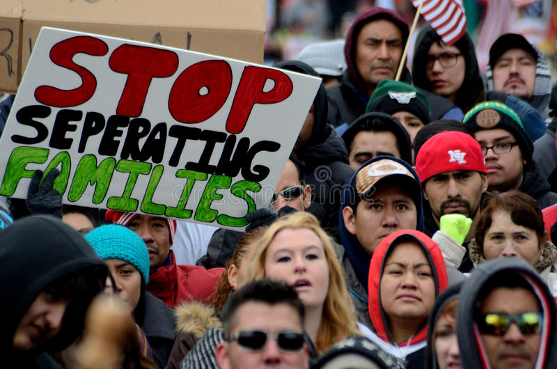 People protesting against Immigration Laws. Madison, WI, USA- February 18, 2016 - group of people protesting new Wisconsin immigration laws stock photography