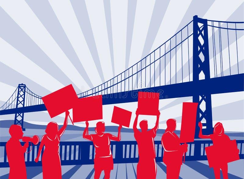 People protesting with bridge stock illustration