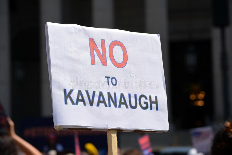 New York City. People protesting Supreme Court nominee Brett Kavanaugh at a rally in Lower Manhattan stock photography