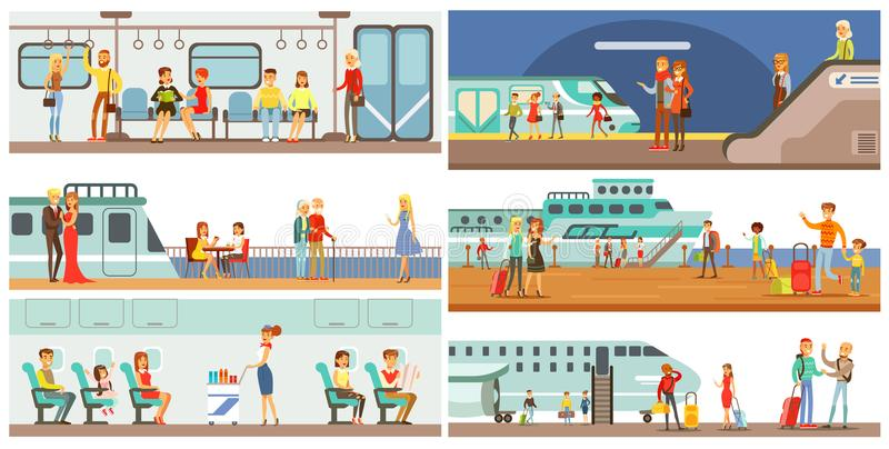 People in public transport set, passengers of the underground, airplane, cruise ship vector Illustrations. In flat style vector illustration
